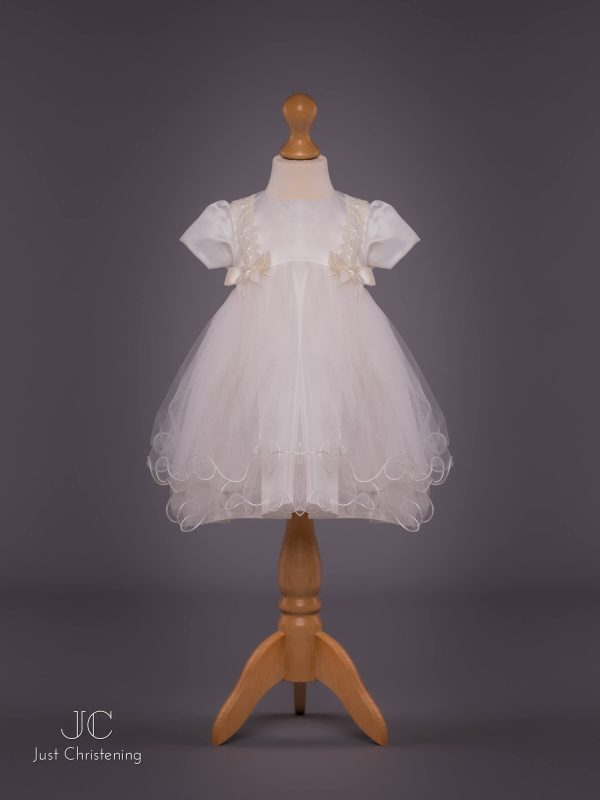 'Louise' Ivory Double Bow Christening Dress by Eva Rose