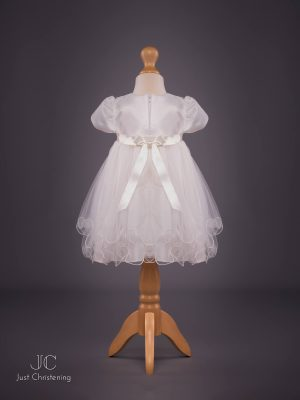 'Louise' Ivory Double Bow Christening Dress by Eva Rose Back