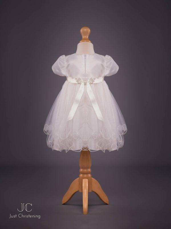 'Louise' Ivory Double Bow Christening Dress by Eva Rose Back