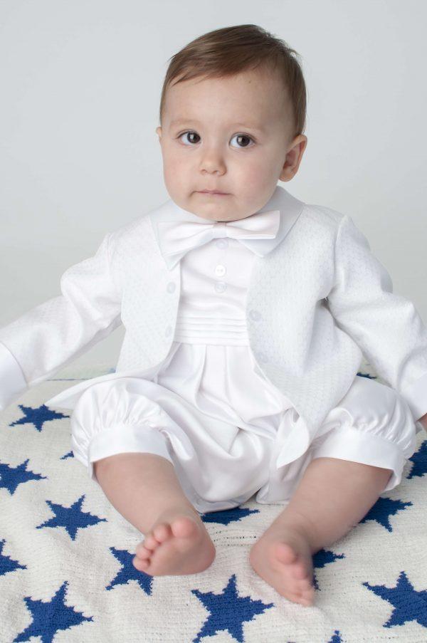 2 piece white christening romper