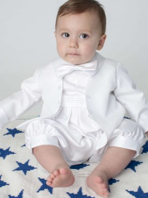 2 piece white christening romper