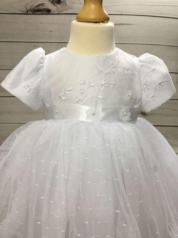 Isabelle white christening dress baby girl 2