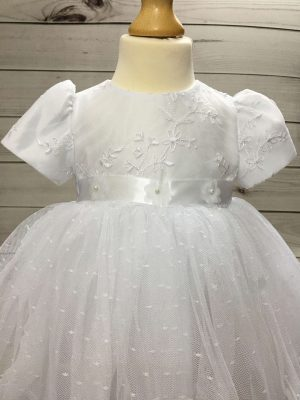 Isabelle white christening dress baby girl 2