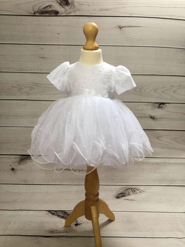 Isabelle white christening dress baby girl 6