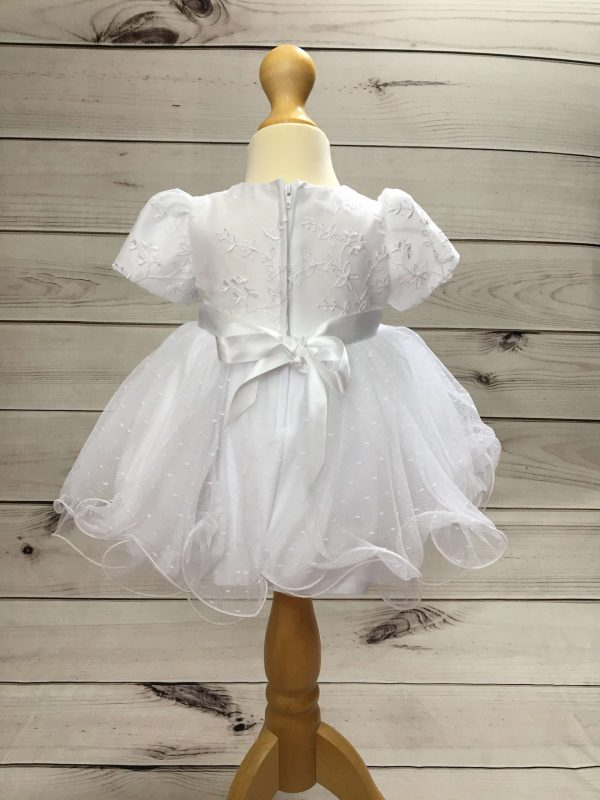 Isabelle white christening dress baby girl