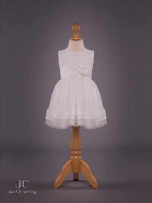 Mintini Baby Girls White Christening Dress