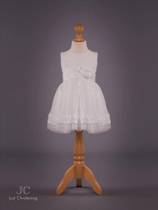 Mintini Baby Girls White Christening Dress
