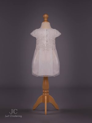 Mintini White Baptism Dress Girls, with knickers and Bonnet back