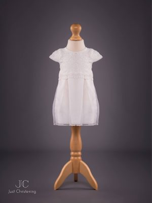 Mintini White Baptism Dress Girls, with knickers and Bonnet