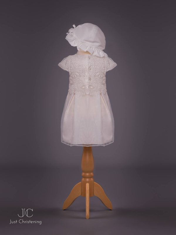 Mintini White Baptism Dress Girls, with knickers and Bonnet 4