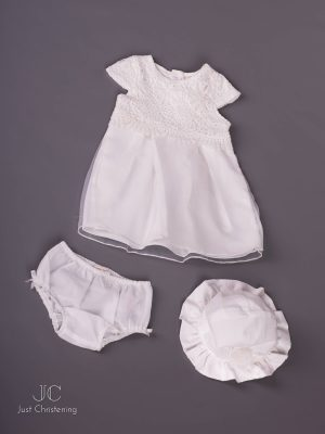 Mintini White Baptism Dress Girls, with knickers and Bonnet floor