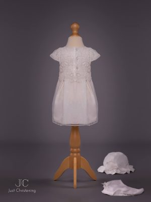Mintini White Baptism Dress Girls, with knickers and Bonnet lay flat