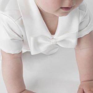 ivory christening romper bow