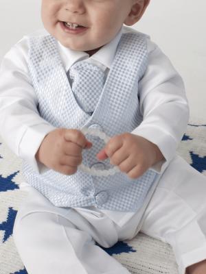 square blue christening check suit