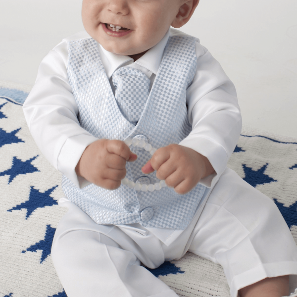 square blue christening check suit