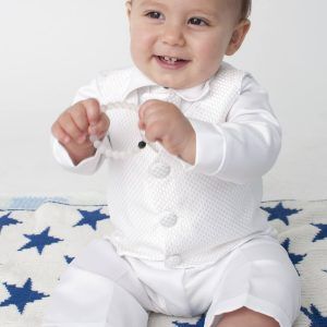 white 4 pice christening suit