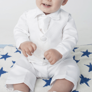 white christening check suit