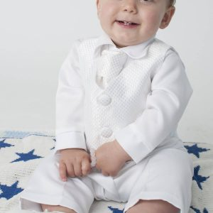 white toddler christening suit