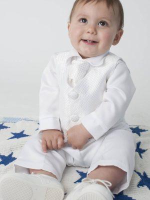 white toddler christening suit