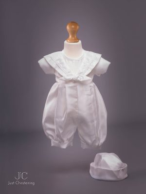 'Jacob' Boys White Christening Sailor Romper 4