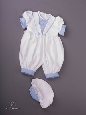 'Ryan' Blue and White Romper Suit 5