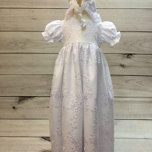'Ann' Girls White Christening Gown And Bonnet 1
