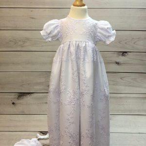 'Ann' Girls White Christening Gown And Bonnet
