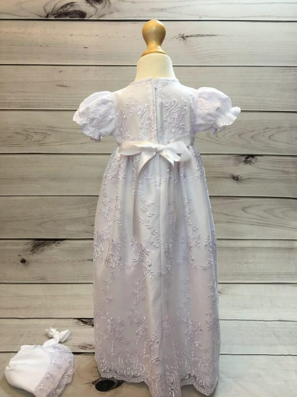 'Ann' Girls White Christening Gown And Bonnet back