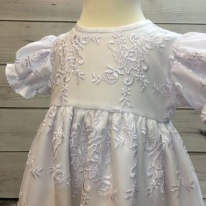 'Ann' Girls White Christening Gown And Bonnet detail