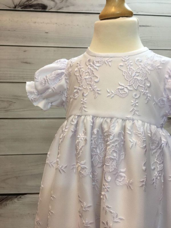 'Ann' Girls White Christening Gown And Bonnet front