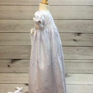 'Ann' Girls White Christening Gown And Bonnet side