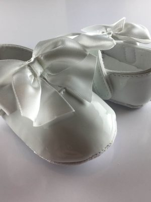 Baby Girls Patent White Occasion Shoes back and front