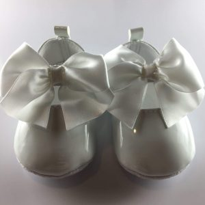 Baby Girls Patent White Occasion Shoes front