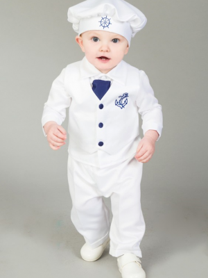 Boys sailor christening outfit navy white 3