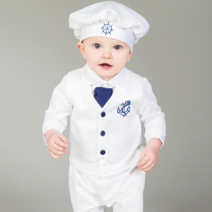 Boys sailor christening outfit navy white