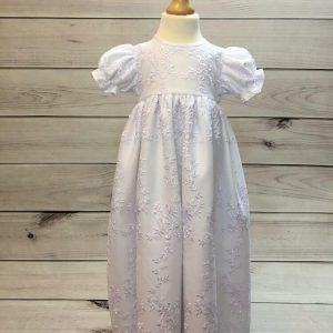Girls White Christening Gown And Bonnet