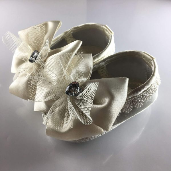 Ivory Baby Ballet Shoes with Big Bows 2