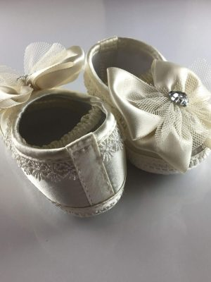 Ivory Baby Ballet Shoes with Big Bows back