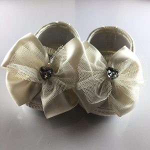 Ivory Baby Ballet Shoes with Big Bows front