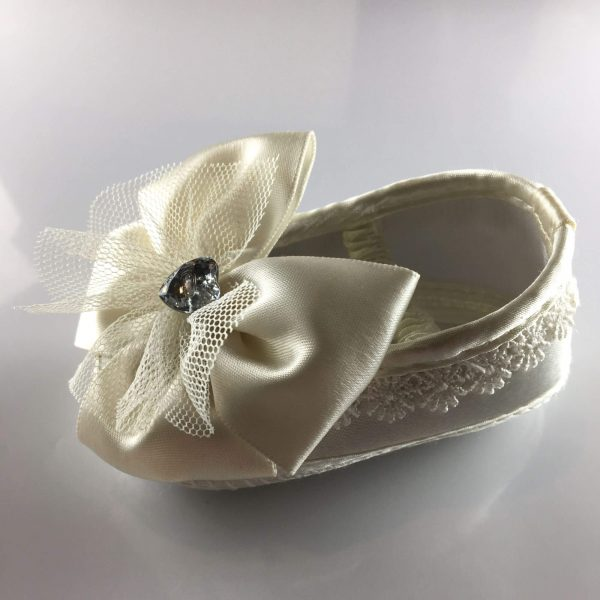 Ivory Baby Ballet Shoes with Big Bows side