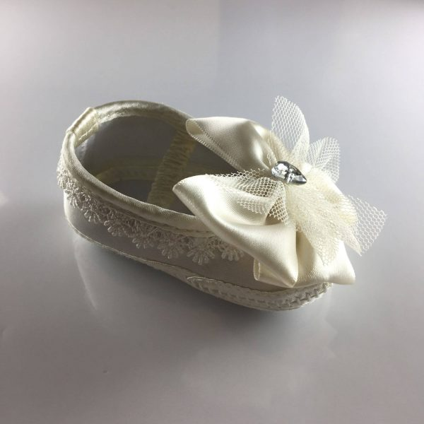 Ivory Baby Ballet Shoes with Big Bows single