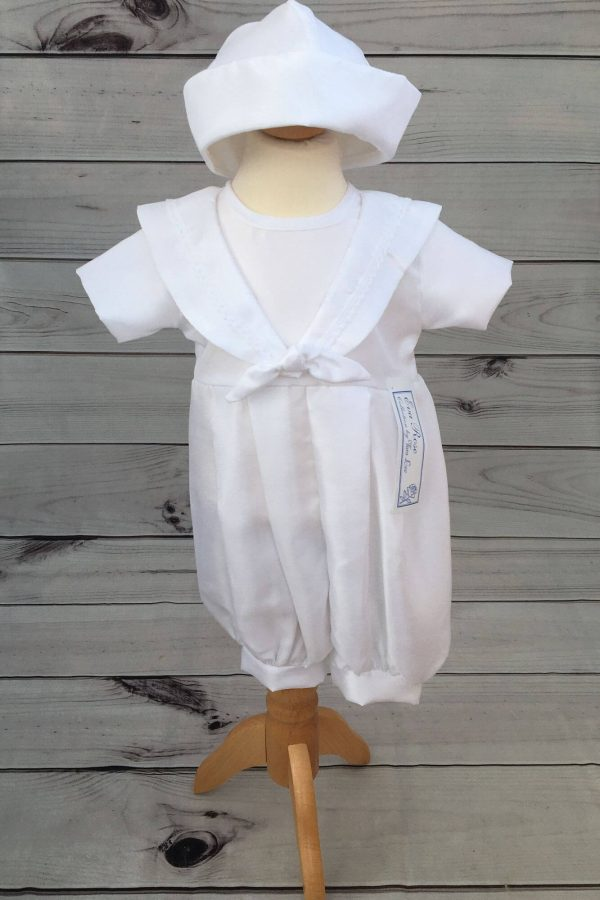 'Jacob' Boys White Christening Sailor Romper