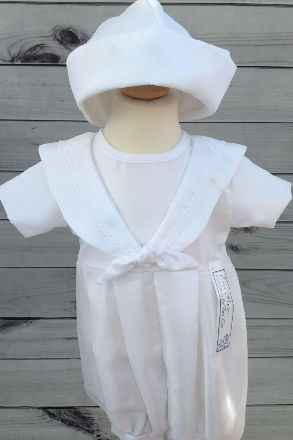 'Jacob' Boys White Christening Sailor Romper close
