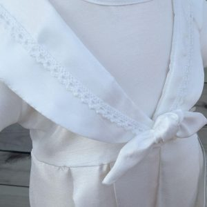 'Jacob' Boys White Christening Sailor Romper detail