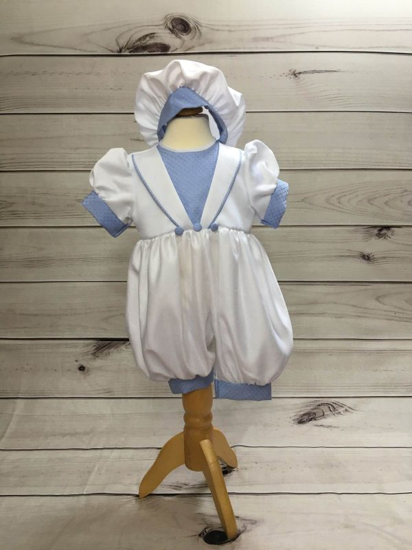 Ryan blue and white christening romper tny