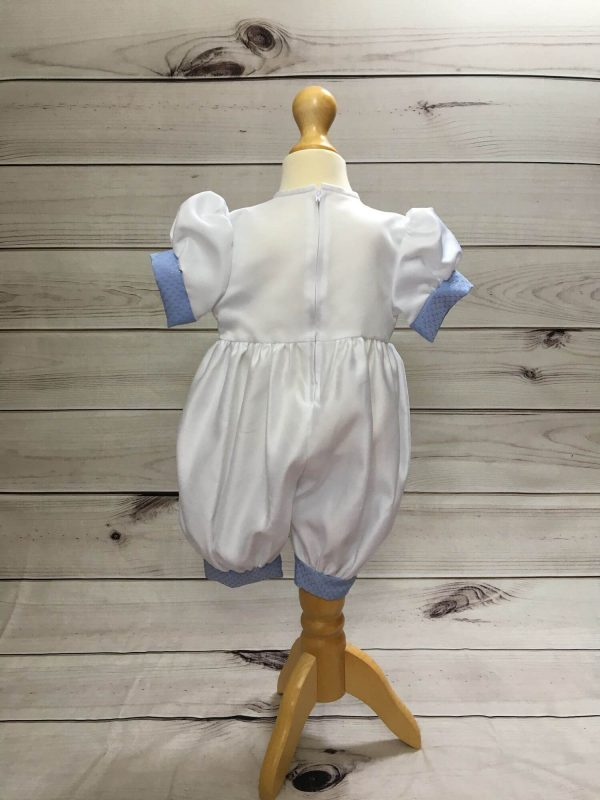 Ryan blue and white christening romper tny3