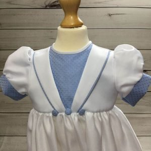 Ryan blue and white christening romper tny5