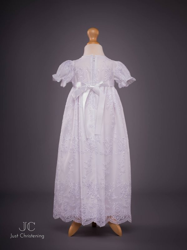Ann Girls White embroidered Christening dress back