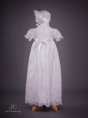 Ann Girls White embroidered Christening dress back with bonnet