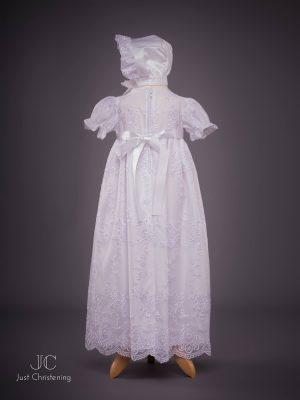 Ann Girls White embroidered Christening dress back with bonnet